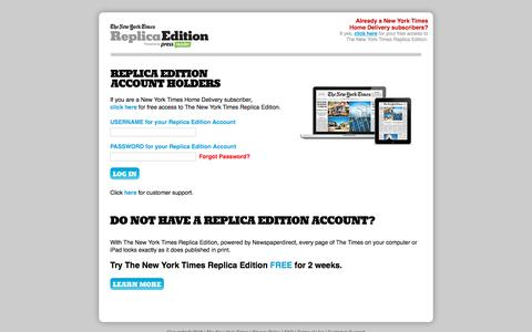 Screenshot of Signup Page newspaperdirect.com - The New York Times - Replica Edition - captured Sept. 20, 2018