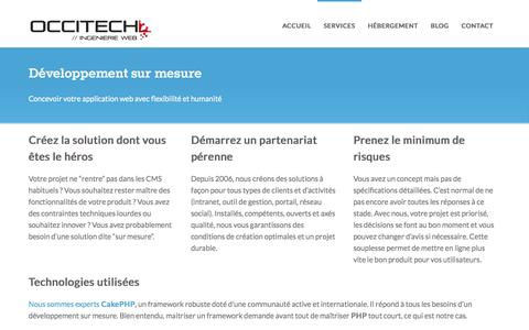 Screenshot of Services Page occitech.fr - Développement sur mesure, CakePHP, angularJS et Node.js en agilité | Occitech - captured Oct. 7, 2014