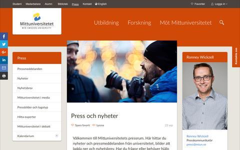 Screenshot of Press Page miun.se - Press - captured Oct. 7, 2017