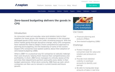 Screenshot of Case Studies Page anaplan.com - Zero Based Budgeting (ZBB) for CPG Companies | Anaplan - captured April 11, 2017