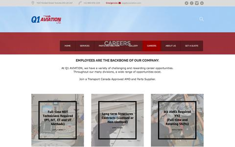 Screenshot of Jobs Page q1aviation.com - Careers - Q1 Aviation I Challenging and Rewarding Career Opportunities - captured Sept. 25, 2018