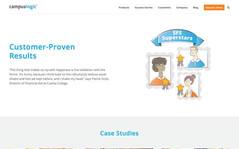 Screenshot of Case Studies Page campuslogic.com - Case Studies - CampusLogic - captured May 16, 2019
