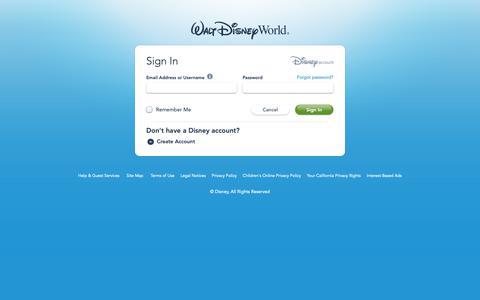 Screenshot of Login Page go.com - Sign In | Walt Disney World Resort - captured Nov. 7, 2018