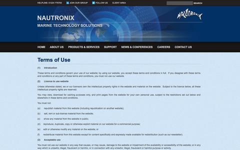 Screenshot of Terms Page nautronix.com - Terms of Use | Nautronix - captured Oct. 26, 2014