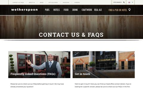 Screenshot of Contact Page jdwetherspoon.com - Contact - J D Wetherspoon - captured Dec. 19, 2015