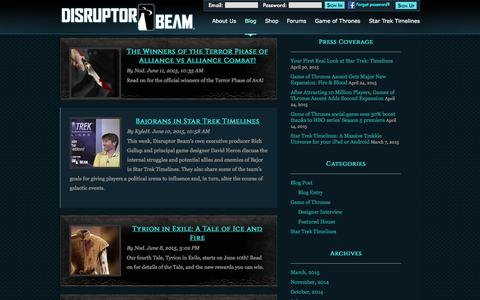 Screenshot of Press Page disruptorbeam.com - News | Disruptor Beam - captured June 17, 2015