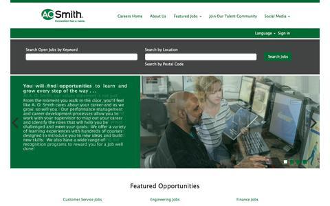 Screenshot of Jobs Page aosmith.com captured May 25, 2017