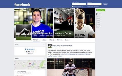 Screenshot of Facebook Page facebook.com - Annex Sports Performance Center - Florham Park, New Jersey - Fitness Center, Personal Trainer   Facebook - captured Oct. 23, 2014