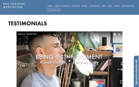Screenshot of Testimonials Page benturshenmeditation.com - Meditation Testimonials NYC | Ben Turshen Meditation - captured Jan. 31, 2018