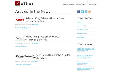 Screenshot of Press Page ethor.com - In the News Archives | eThor - captured Sept. 16, 2014