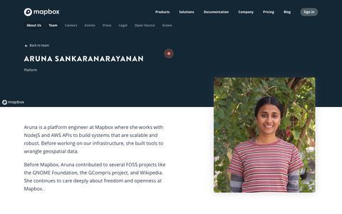 Screenshot of Team Page mapbox.com - Aruna Sankaranarayanan   Mapbox - captured Feb. 19, 2019