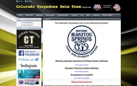 Screenshot of Locations Page teamunify.com - Colorado Torpedoes Swim Team : Locations - captured Nov. 9, 2016