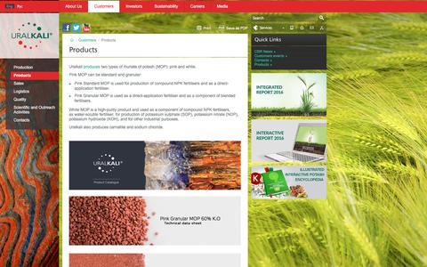 Screenshot of Products Page uralkali.com - Products   PJSC Uralkali - captured June 12, 2017