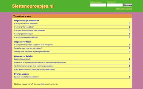 Screenshot of FAQ Page slettenoproepjes.nl - Slettenoproepjes.nl - Al 20 jaar de beste plek voor een sexdate - captured Jan. 23, 2017