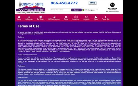 Screenshot of Terms Page canyonstatewireless.com - CSW - Terms - captured July 10, 2016