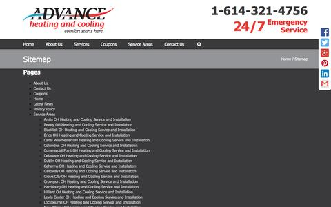 Screenshot of Site Map Page advancehc.net - Sitemap | Advance Heating and Cooling - captured Nov. 2, 2014
