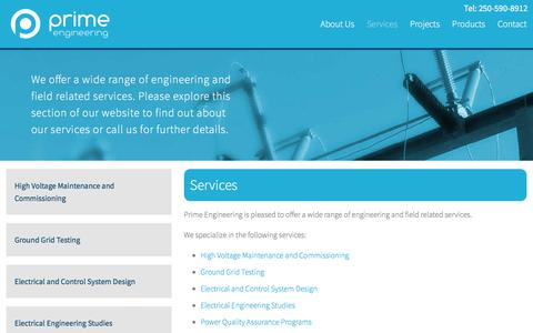 Screenshot of Services Page primeeng.ca - Services • Prime Engineering - captured Aug. 27, 2017