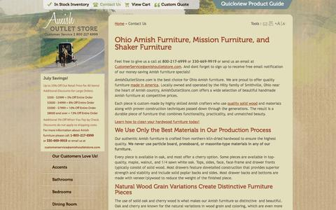 Screenshot of Contact Page amishoutletstore.com - Contact Us | Amish Outlet Store - captured July 25, 2016
