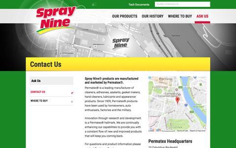 Screenshot of Contact Page spraynine.com - Contact Us - Spray Nine - captured Dec. 13, 2016