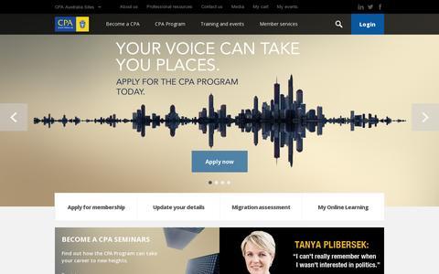 Screenshot of Home Page cpaaustralia.com.au - CPA Australia - Home - captured July 12, 2014