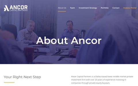 Screenshot of About Page ancorcapital.com - Ancor Capital Partners - About Us - captured Oct. 3, 2018