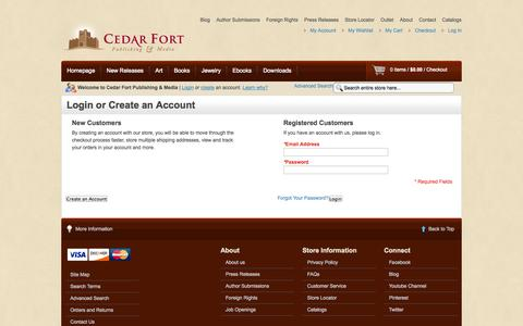 Screenshot of Login Page cedarfort.com - Customer Login - captured Sept. 22, 2014
