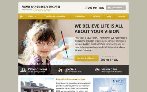 Screenshot of Home Page visionsource-frea.com - Optometrist, Eye Doctor in Broomfield CO | Front Range Eye Associates - captured Oct. 6, 2014