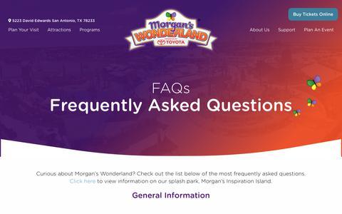 Screenshot of FAQ Page morganswonderland.com - FAQs - Morgan's Wonderland - captured Dec. 12, 2018