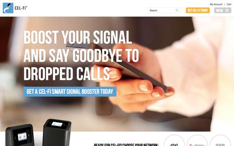 Screenshot of Home Page cel-fi.com - Cel-Fi - Cell Phone Signal Booster - captured July 3, 2015