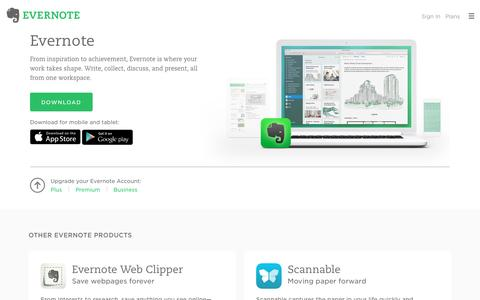 Screenshot of Products Page evernote.com - Evernote Products | Evernote - captured Aug. 14, 2016
