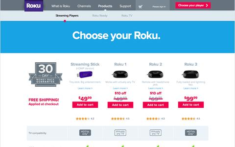Screenshot of Products Page roku.com - Compare Roku Models | Roku Streaming Player - captured Sept. 17, 2014