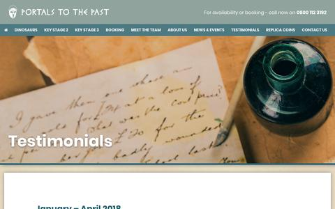 Screenshot of Testimonials Page portalstothepast.co.uk - Portals to the Past | Testimonials - Portals to the Past - captured Nov. 5, 2018