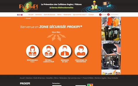 Screenshot of Home Page proxipi.com - PROXIPI – Détection de piétons - Prévention des collisions engins-piétons - captured Sept. 27, 2014