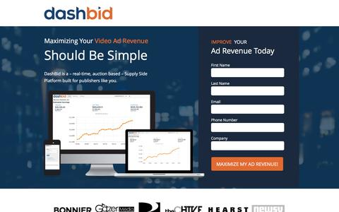 Screenshot of Landing Page dashbid.com captured Dec. 17, 2015