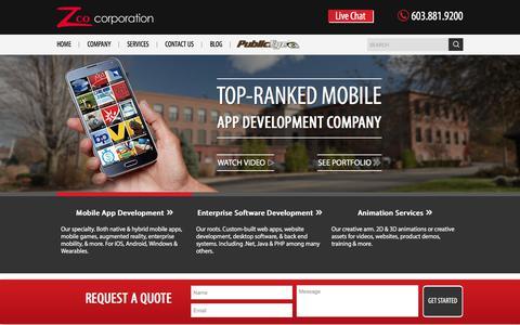 Screenshot of Home Page zco.com - Zco: Top Greater Boston Mobile App Development Company - captured Sept. 25, 2017