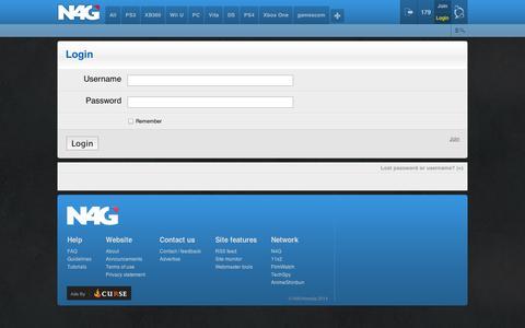 Screenshot of Login Page n4g.com - Login | N4G - captured Sept. 12, 2014