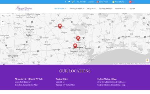 Screenshot of Locations Page infertilityanswers.com - OUR LOCATIONS | Advanced Fertility Center of Texas - captured Oct. 3, 2018
