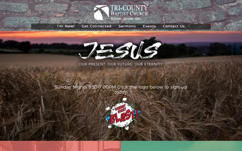 Screenshot of Home Page tcbclive.org - Tri-County Baptist Church - - captured Oct. 31, 2018