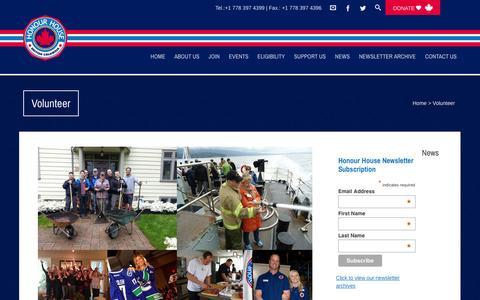 Screenshot of Signup Page honourhouse.ca - Volunteer  Honour House - captured Nov. 2, 2014
