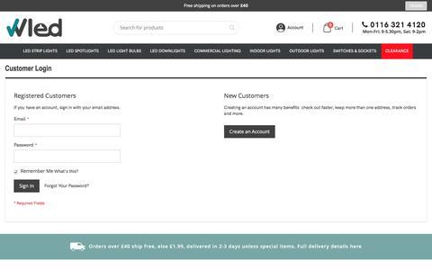 Screenshot of Login Page wholesaleledlights.co.uk - Customer Login - captured Feb. 9, 2020