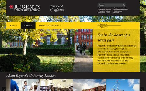 Screenshot of About Page regents.ac.uk - Regent's University London - About - captured Oct. 31, 2014