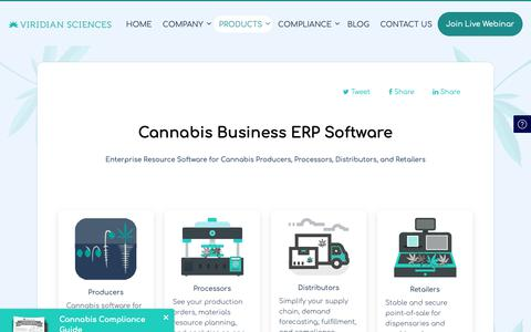 Screenshot of Products Page viridiansciences.com - Capable & Compliant Cannabis ERP Software | Viridian Sciences - captured Feb. 15, 2019