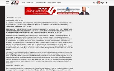 Screenshot of Terms Page fox5vegas.com - Terms of Service | Site | fox5vegas.com - captured Sept. 22, 2018