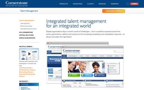 Screenshot of Products Page cornerstoneondemand.com - Talent Management, Performance Management Software for Global Enterprise - captured Sept. 13, 2014