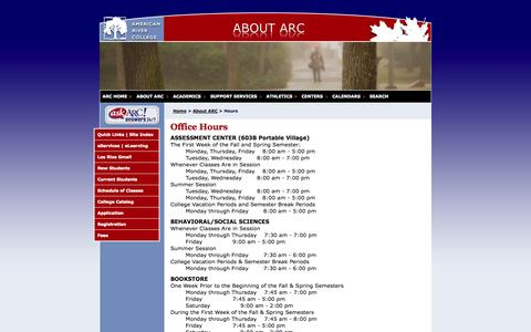 Screenshot of Hours Page losrios.edu - American River College - captured Sept. 24, 2014