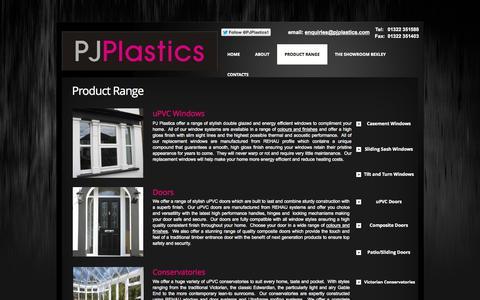 Screenshot of Products Page pjplastics.com - PJ Plastics -  Product Range - captured Sept. 26, 2014