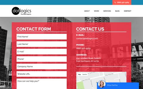 Screenshot of Contact Page dotlogics.com - Dotlogics – Custom Website Designing Company in New York - captured May 12, 2017