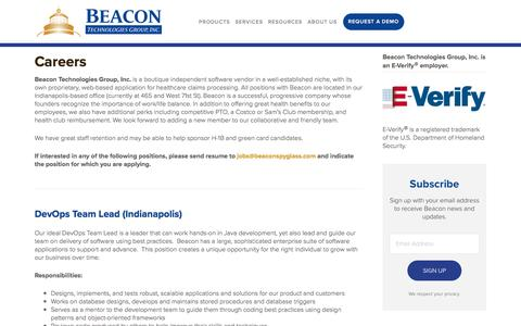 Screenshot of Jobs Page beaconspyglass.com - Careers | Beacon Technologies Group, Inc. - captured Aug. 13, 2018