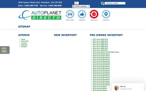Screenshot of Site Map Page autoplanetdirect.ca - Auto Planet Direct   Inventory for sale in Brampton, ON L6S 6E8 - captured Feb. 9, 2018