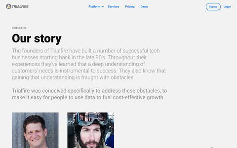 Screenshot of About Page trialfire.com - Company | Trialfire - captured Jan. 17, 2018